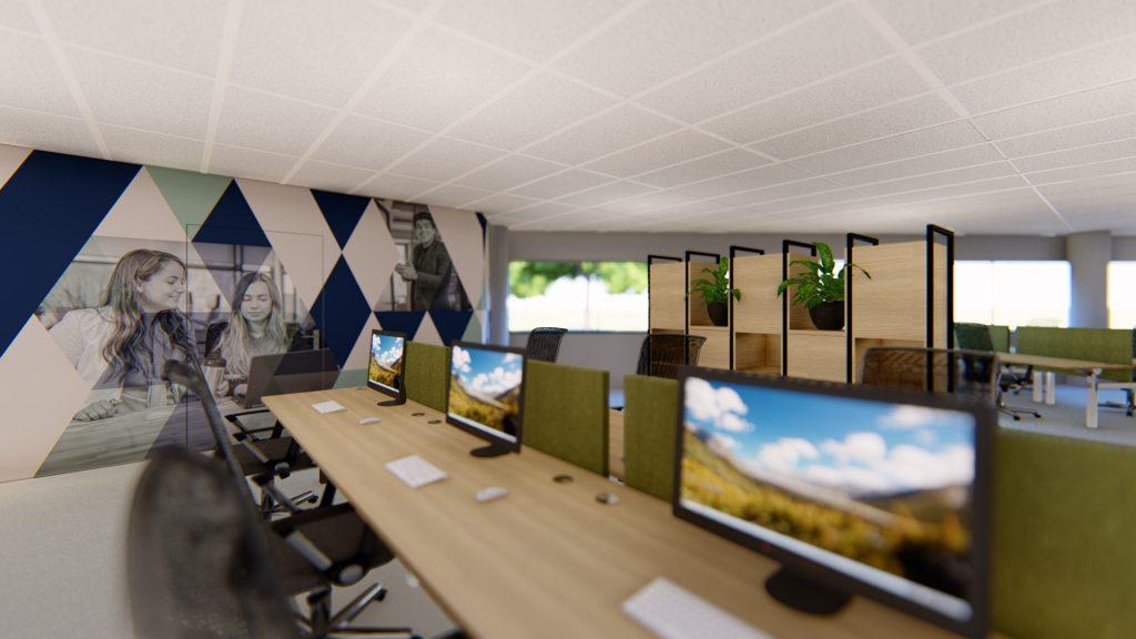3D-visualisatie flexplekken kantoorinrichting Welten / Dukers & Baelemans